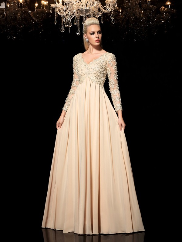 Floor-Length A-Line/Princess V-neck Long Sleeves Applique Chiffon Dresses