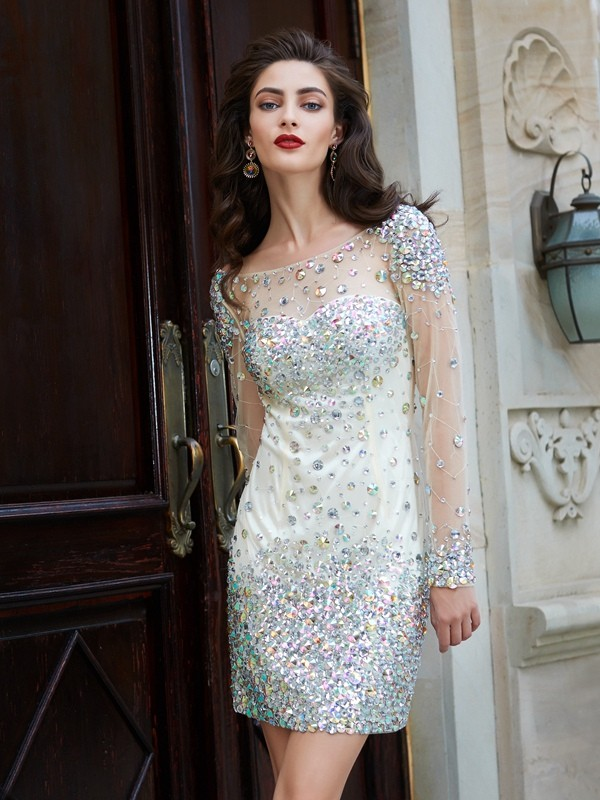 Short/Mini Sheath/Column Scoop Long Sleeves Rhinestone Net Dresses