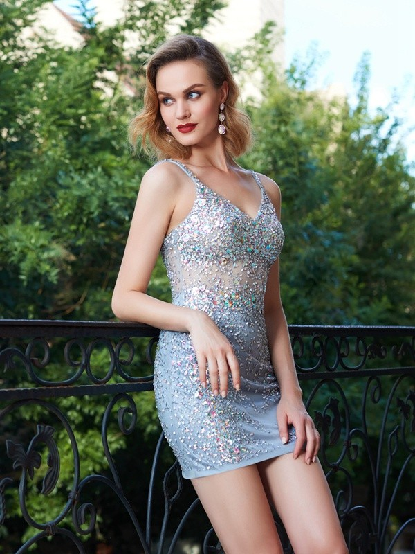 Short/Mini Sheath/Column Spaghetti Straps Sleeveless Sequin Net Dresses