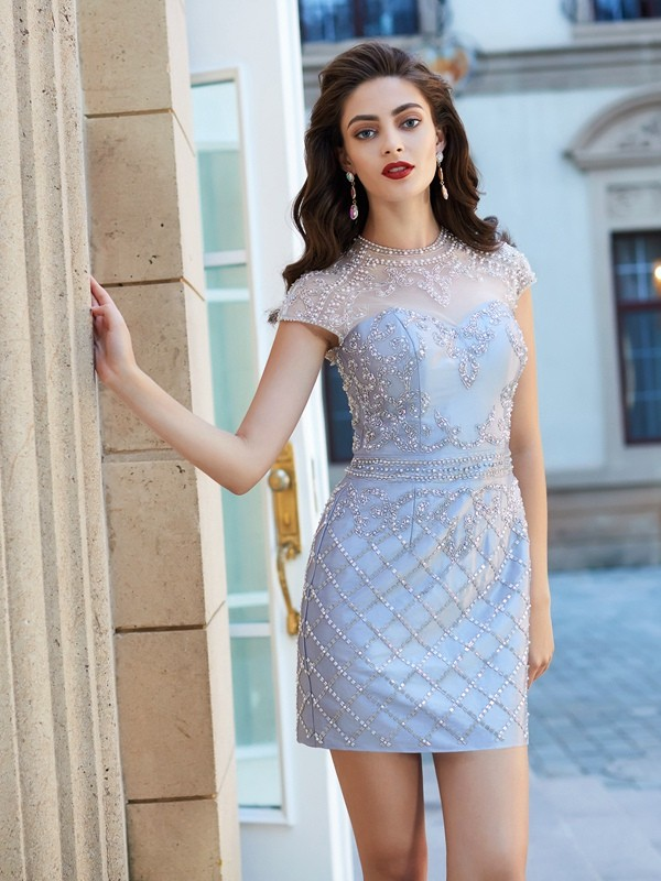 Short/Mini Sheath/Column Jewel Short Sleeves Beading Satin Dresses