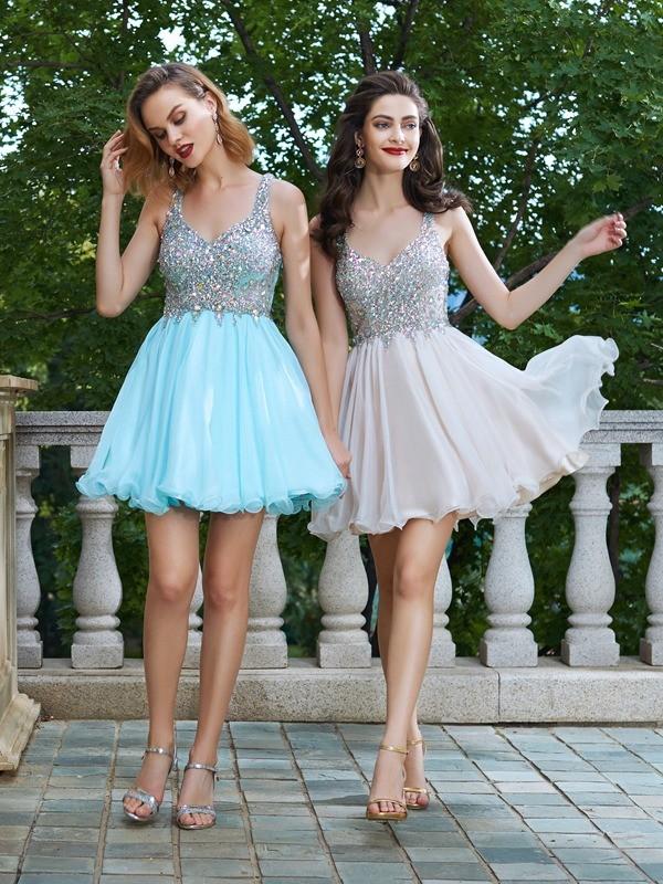 Short/Mini A-Line/Princess Straps Sleeveless Rhinestone Chiffon Dresses