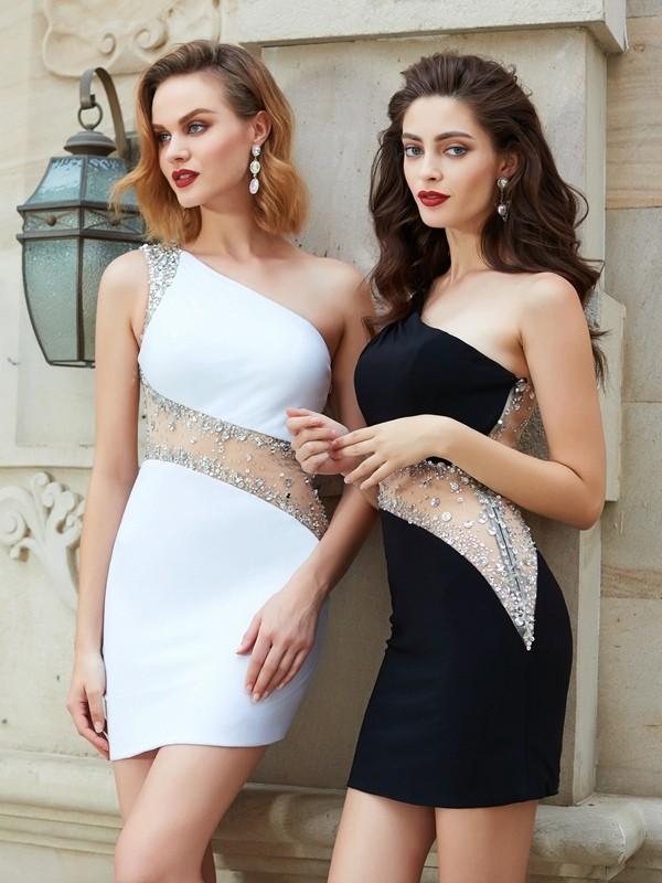 Short/Mini Sheath/Column One-Shoulder Sleeveless Beading Net Dresses