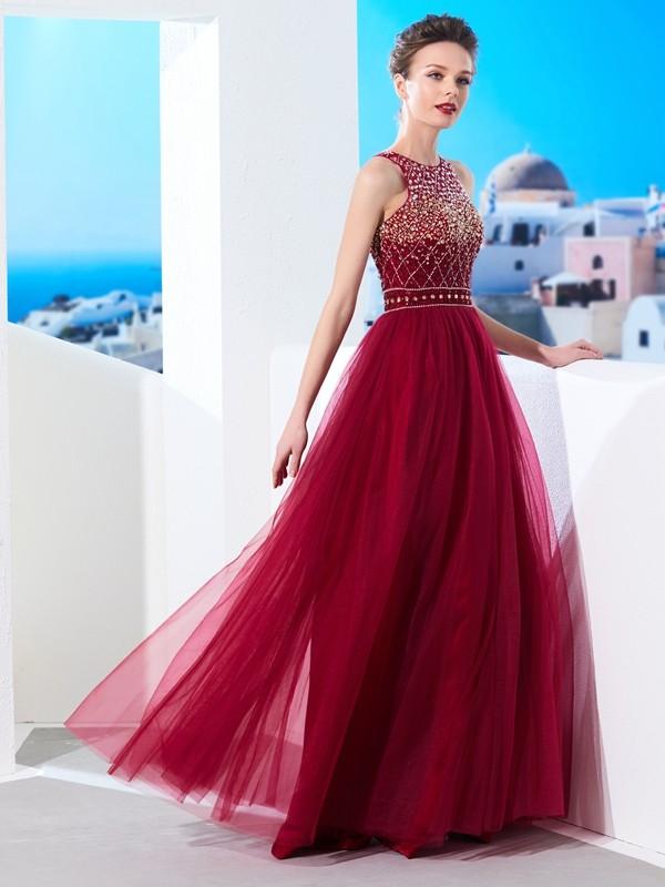 Floor-Length A-Line/Princess Scoop Sleeveless Beading Tulle Dresses
