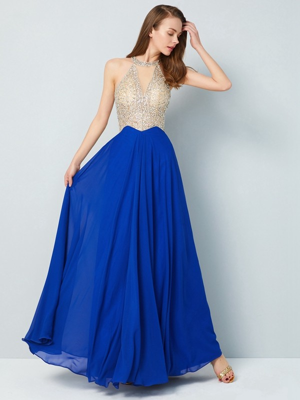 Floor-Length A-Line/Princess Scoop Sleeveless Crystal Chiffon Dresses
