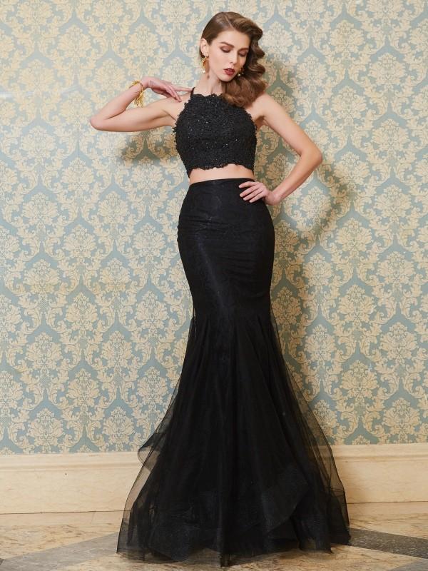 Floor-Length Trumpet/Mermaid Spaghetti Straps Sleeveless Applique Tulle Dresses