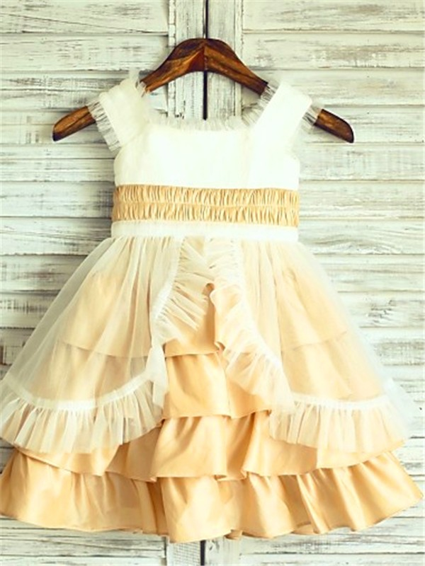 Tea-Length A-Line/Princess Square Sleeveless Layers Satin Flower Girl Dresses