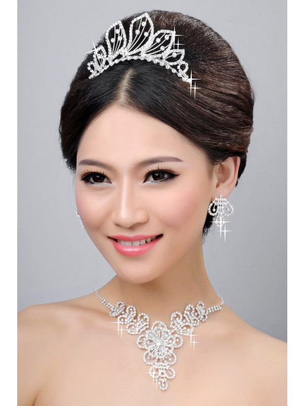 Gorgeous Hot Sale Beautiful Alloy Clear Crystals Wedding Headpieces Necklaces Earrings Set