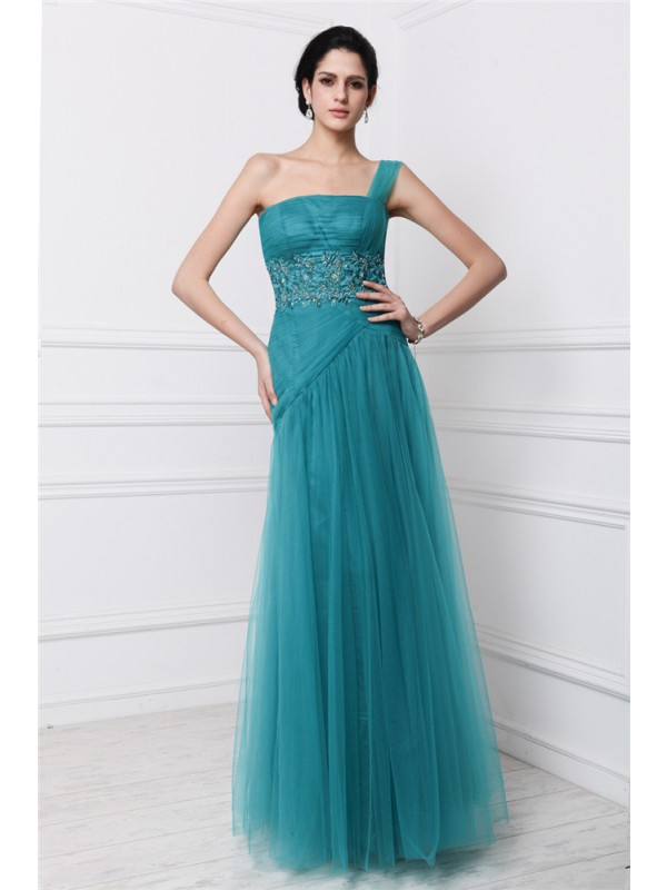 Floor-Length Sheath/Column One-Shoulder Sleeveless Beading Net Dresses