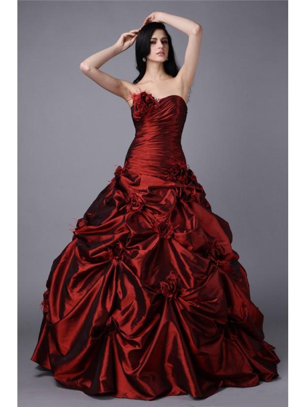 Floor-Length Ball Gown Strapless Sleeveless Hand-Made Flower Taffeta Dresses