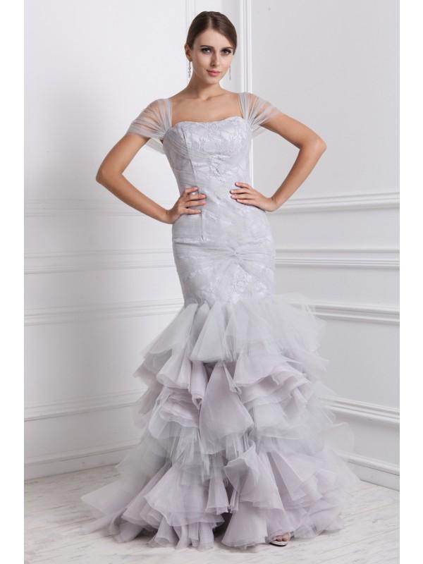 Floor-Length Trumpet/Mermaid Straps Short Sleeves Ruffles Organza Dresses