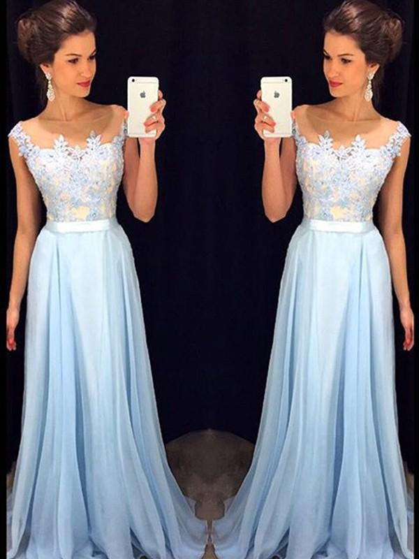 Sweep/Brush Train A-Line/Princess Sheer Neck Sleeveless Applique Chiffon Dresses