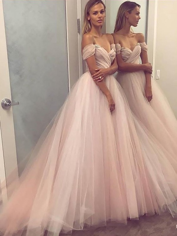 Floor-Length A-Line/Princess Off-the-Shoulder Sleeveless Beading Tulle Dresses