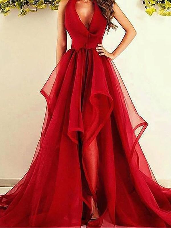 Asymmetrical A-Line/Princess V-neck Sleeveless Ruffles Organza Dresses