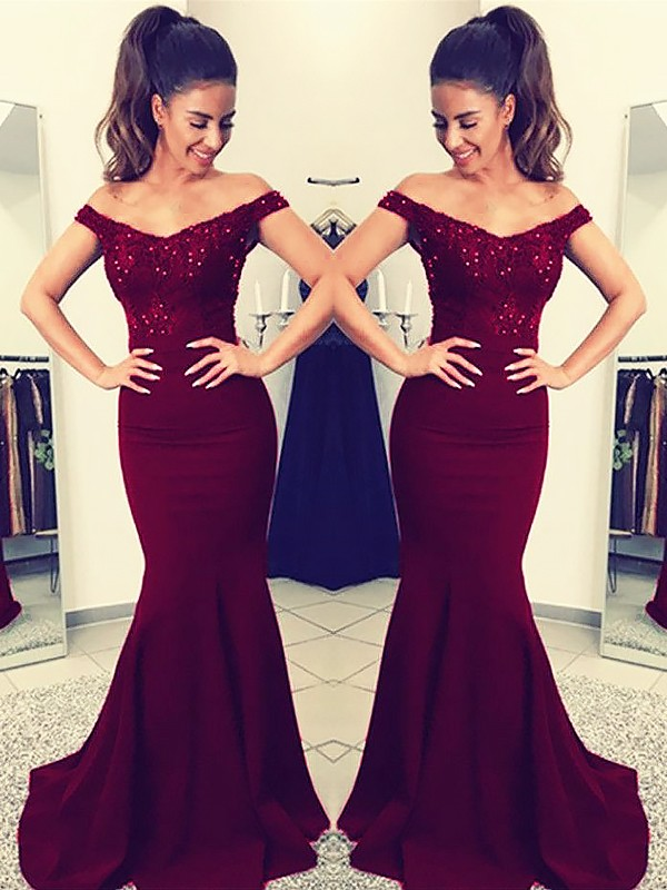 Sweep Train Trumpet/Mermaid Off-the-Shoulder Sleeveless Lace Elastic Woven Satin Dresses