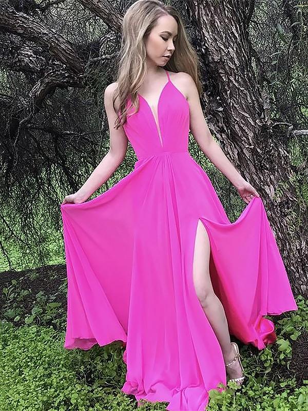 Sweep Train A-Line/Princess Spaghetti Straps Sleeveless Ruffles Chiffon Dresses