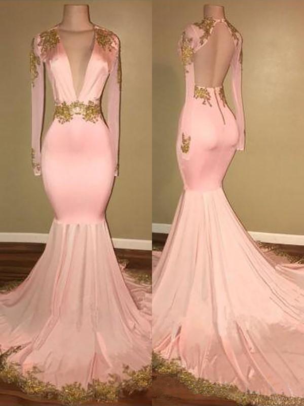 Sweep/Brush Train Trumpet/Mermaid V-neck Long Sleeves Applique Satin Dresses