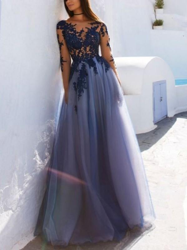 Floor-Length A-Line/Princess Scoop Long Sleeves Applique Tulle Dresses