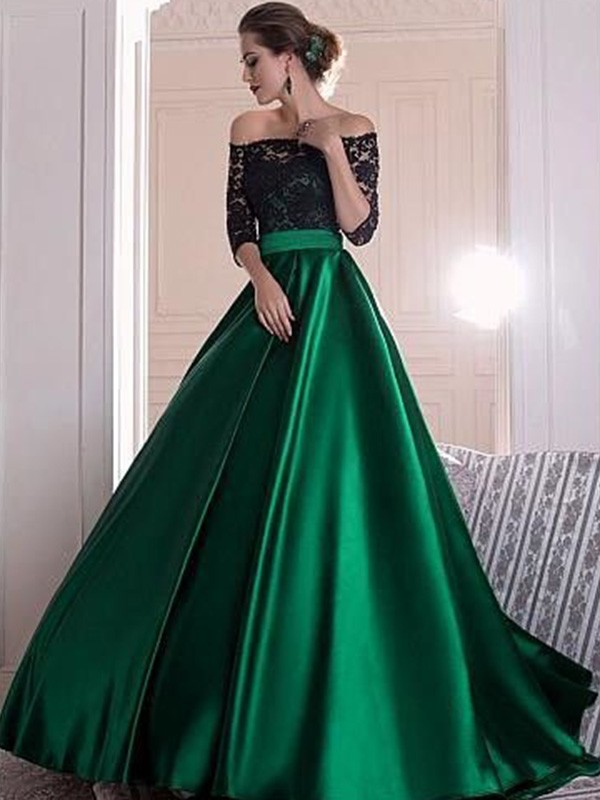 Sweep/Brush Train A-Line/Princess 3/4 Sleeves Off-the-Shoulder Satin Dresses