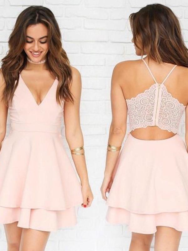Short/Mini A-Line/Princess V-neck Sleeveless Pleats Elastic Woven Satin Dresses