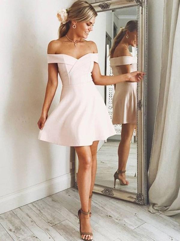 Short/Mini A-Line/Princess Off-the-Shoulder Sleeveless Other Satin Dresses