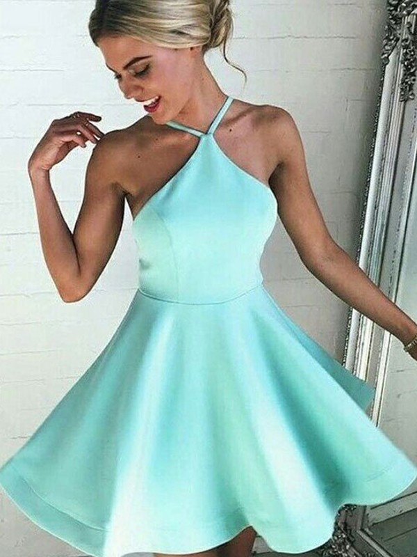 Short/Mini A-Line/Princess Halter Sleeveless Ruched Satin Dresses