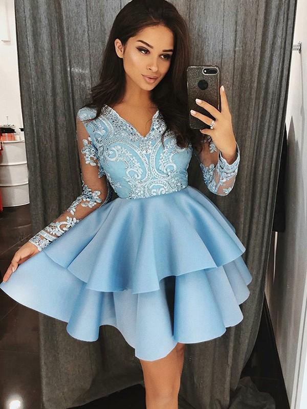 Short/Mini A-Line/Princess V-neck Long Sleeves Applique Satin Dresses