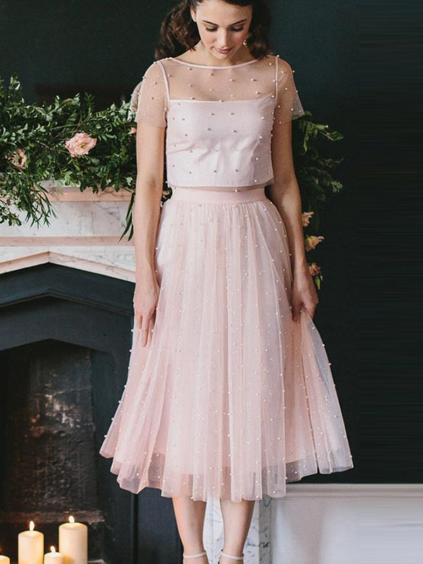 Tea-Length A-Line/Princess Scoop Short Sleeves Other Tulle Dresses