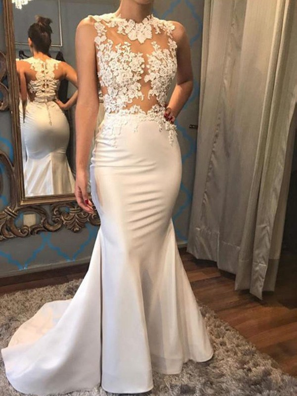 Court Train Trumpet/Mermaid Sleeveless Scoop Satin Wedding Dresses
