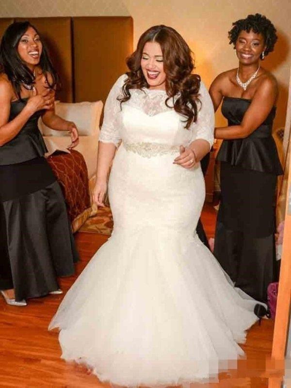 Sweep/Brush Train Trumpet/Mermaid Off-the-Shoulder Tulle Wedding Dresses