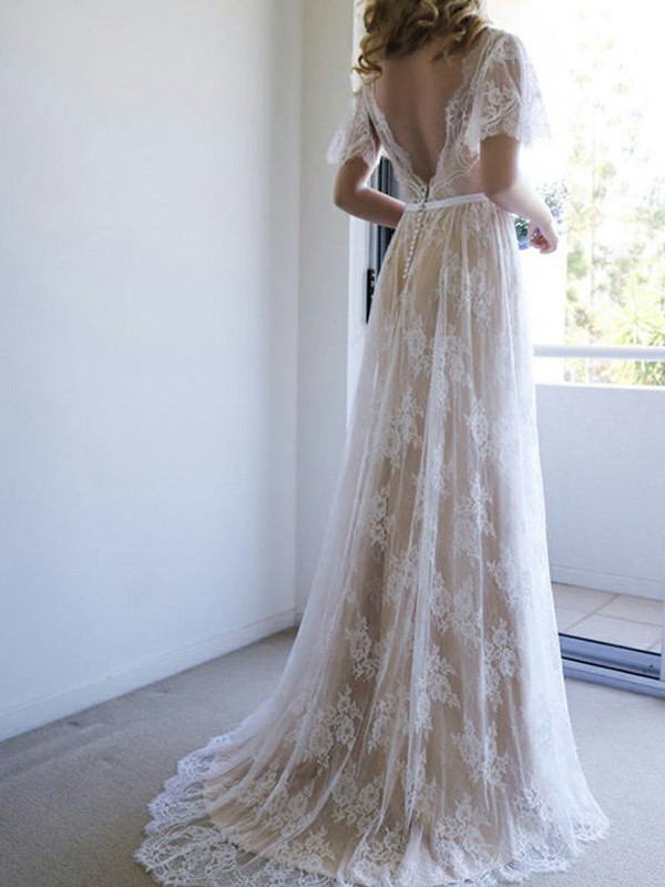 Sweep/Brush Train A-Line/Princess V-neck Lace Wedding Dresses