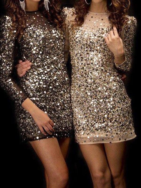 Short/Mini Sheath/Column Long Sleeves Bateau Sequins Dresses