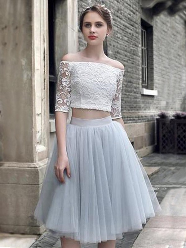 Knee-Length A-Line/Princess Off-the-Shoulder 1/2 Sleeves Tulle Homecoming Dress