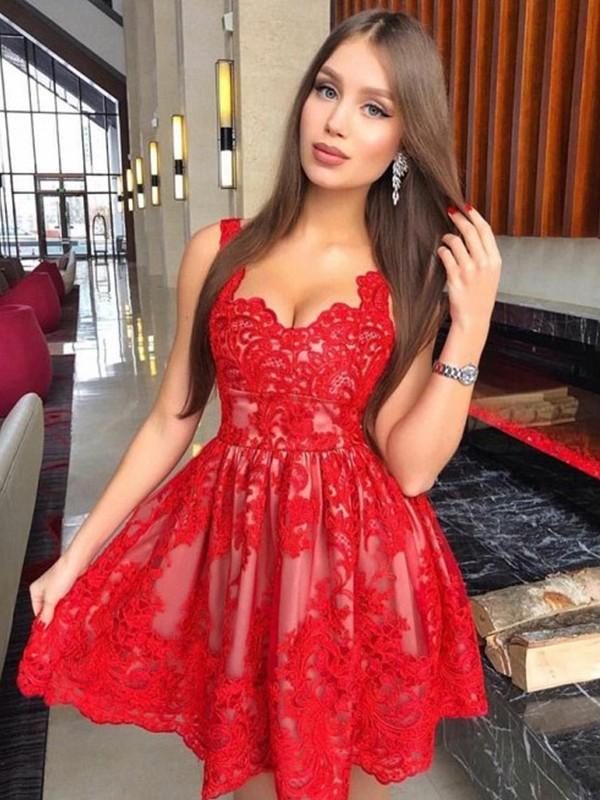Short/Mini A-Line/Princess Straps Sleeveless Lace Dresses