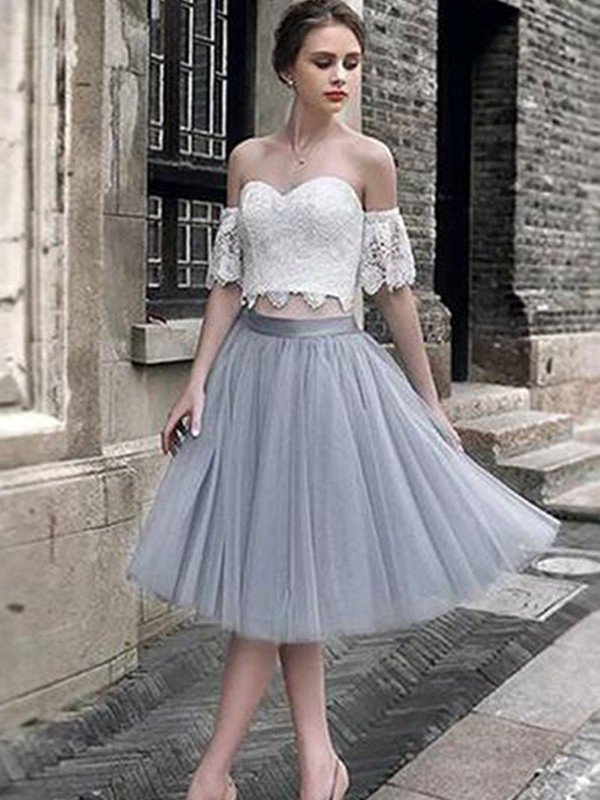 Tea-Length A-Line/Princess Sweetheart Sleeveless Tulle Dresses