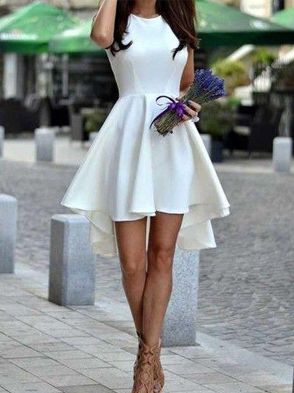Short/Mini A-Line/Princess Jewel Sleeveless Satin Dresses