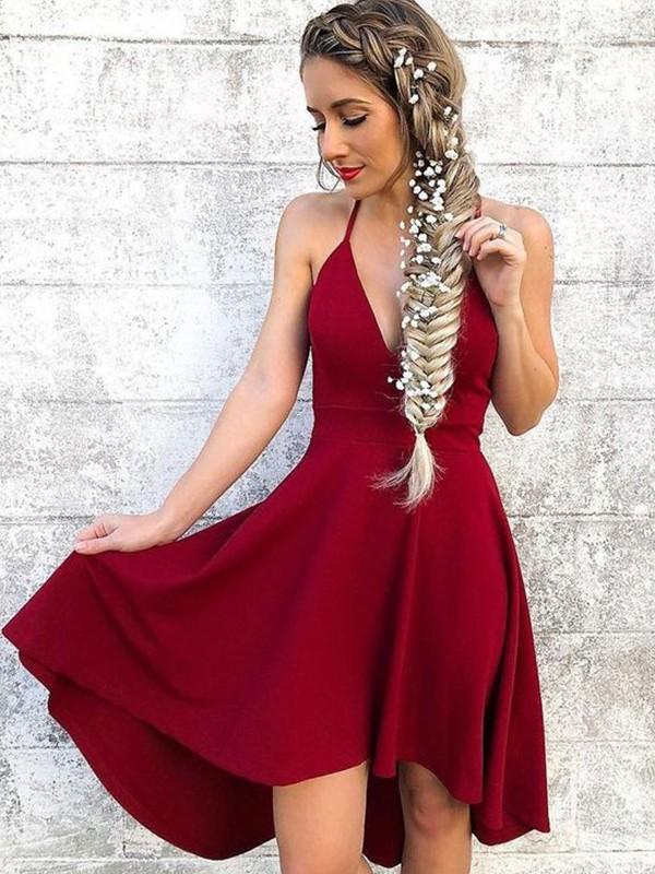 Knee-Length A-Line/Princess Halter Sleeveless Spandex Dresses