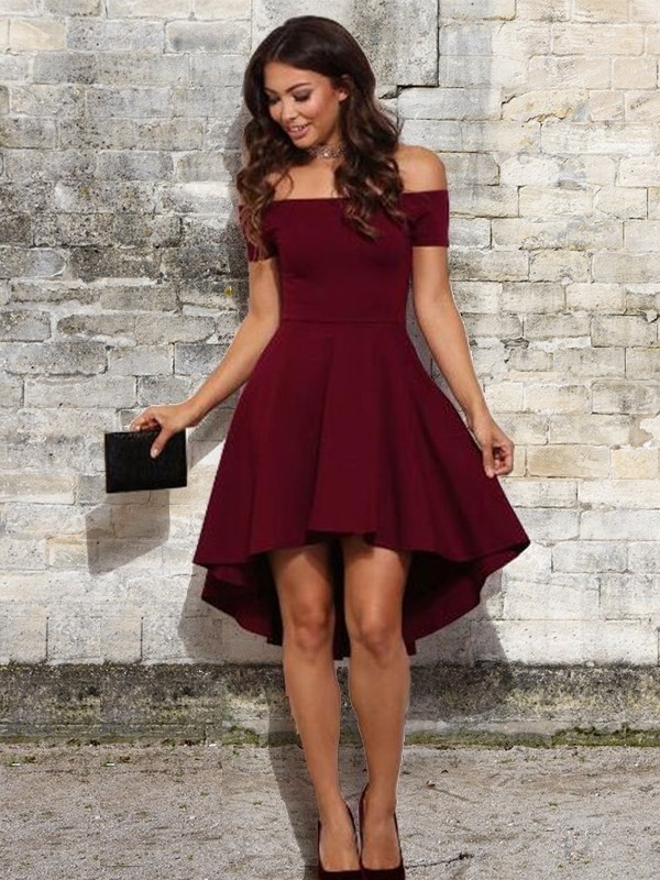 Short/Mini A-Line Off-the-Shoulder With Ruffles Elastic Woven Satin Dresses