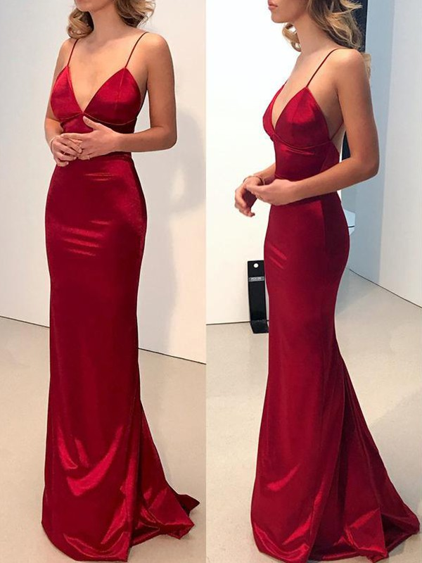 Sweep/Brush Train Sheath/Column  Spaghetti Straps Sleeveless Silk like Satin Dresses