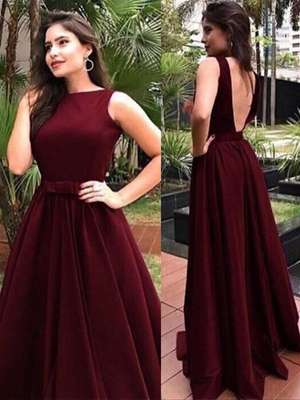 Floor-Length A-Line/Princess Bateau Sleeveless Elastic Woven Satin Dresses