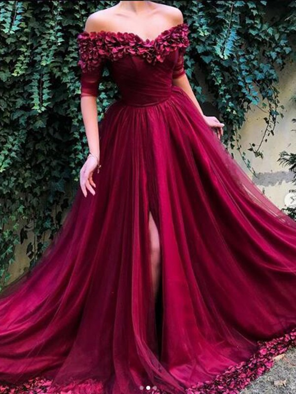Sweep/Brush Train A-Line/Princess Off-the-Shoulder 1/2 Sleeves Tulle Dresses