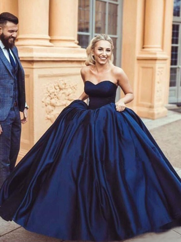 Sweep/Brush Train Ball Gown Sweetheart Sleeveless Satin Dresses