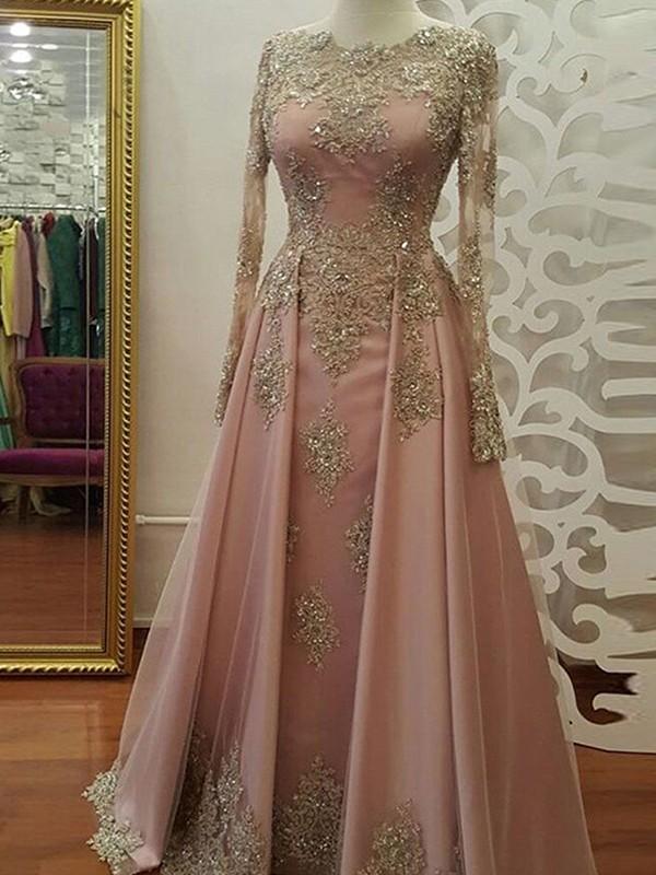 Floor-Length A-Line/Princess Scoop Long Sleeves Tulle Dresses