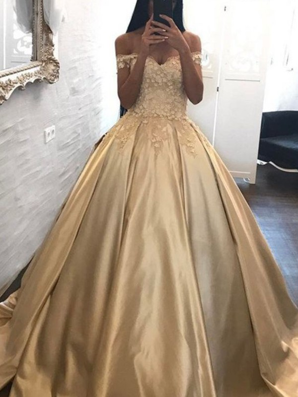 Sweep/Brush Train Ball Gown Off-the-Shoulder Sleeveless Satin Dresses