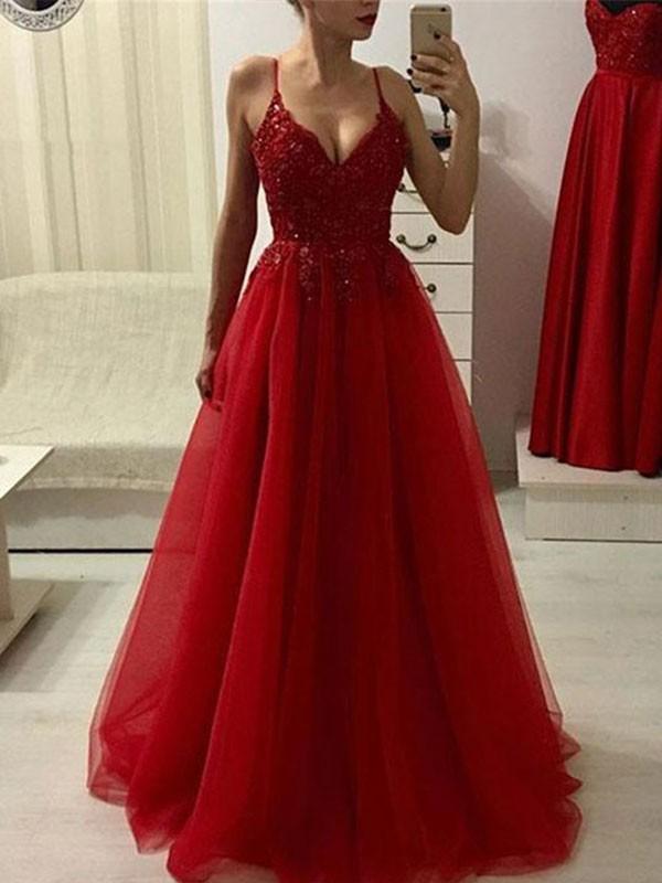 Floor-Length A-Line/Princess Spaghetti Straps Sleeveless Tulle Dresses