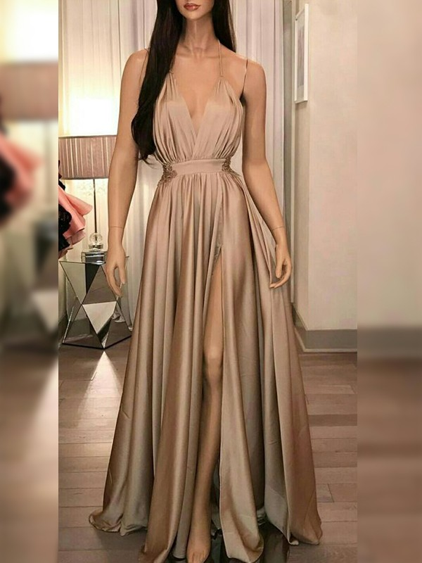 Floor-Length A-Line/Princess Spaghetti Straps Sleeveless Silk like Satin Dresses