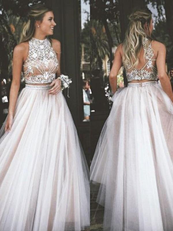 Floor-Length A-Line/Princess High Neck Sleeveless Beading Tulle Dresses