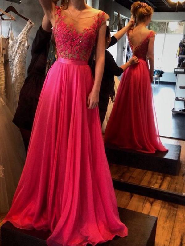 Sweep Train A-Line/Princess Scoop Sleeveless Applique Chiffon Dresses