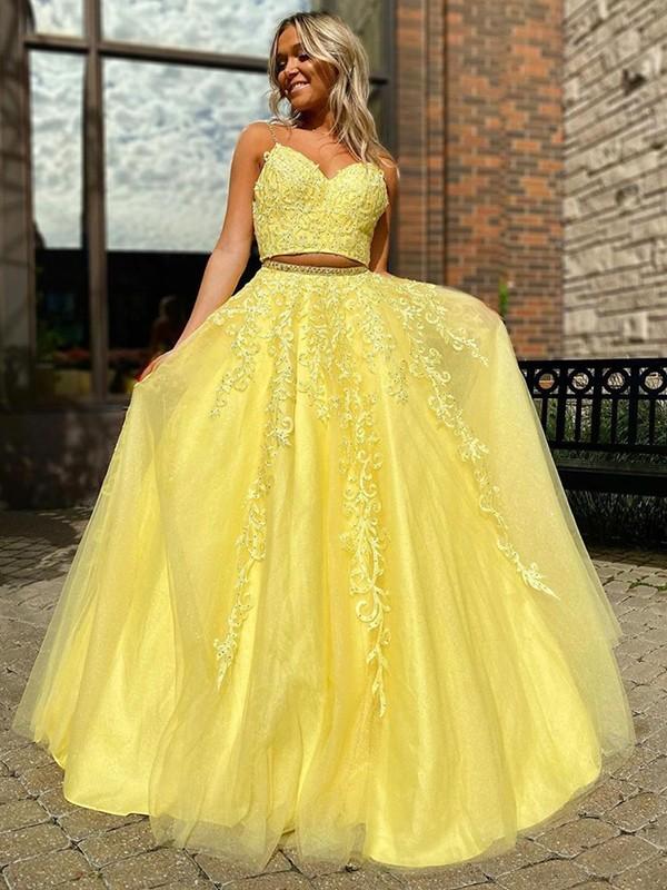 A-Line/Princess Tulle Applique Sleeveless V-neck Floor-Length Two Piece Dresses