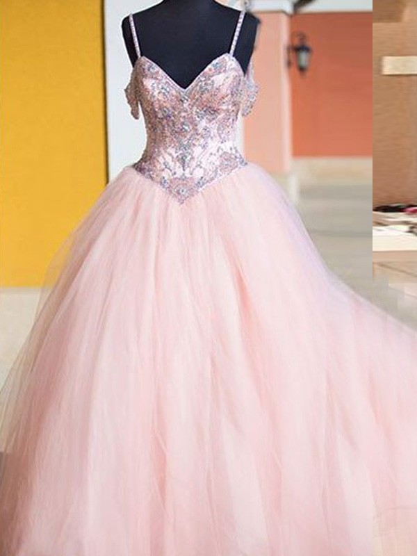 Floor-Length Ball Gown Spaghetti Straps Sleeveless Crystal Tulle Dresses