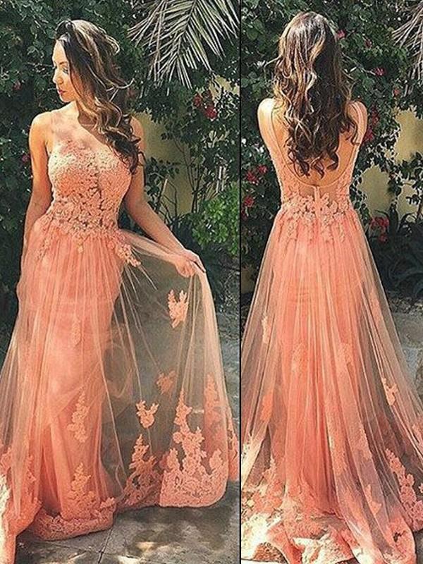Sweep/Brush Train A-Line/Princess Straps Sleeveless Applique Tulle Dresses